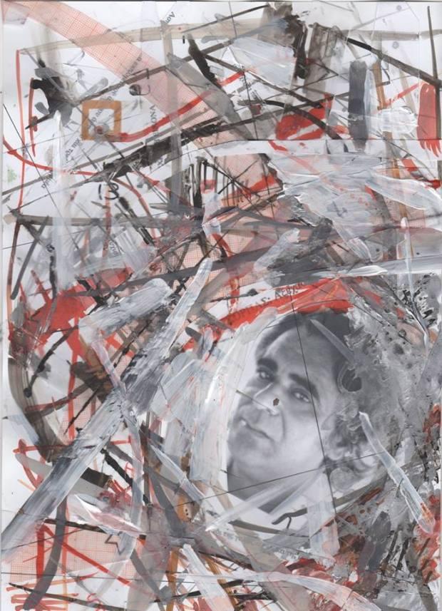 Ελεάννα Μαρτίνου: Θωμάς Γκόρπας / Vortex II, μεικτή τεχνική, 21Χ30, 2012 (Από τον κύκλο Δώδεκα Φυσιογνωμίες)